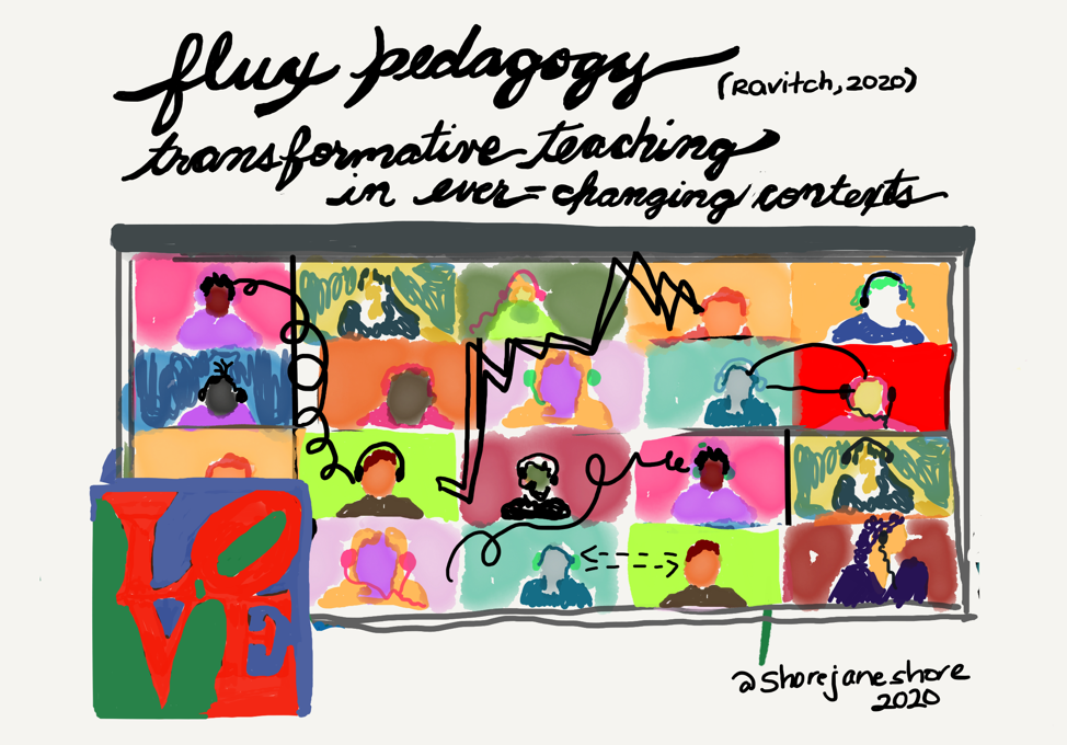 """drawing of online zoom class with text """"flux pedagogy transformative teaching in ever-changing contexts"""""""